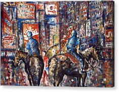 New York Broadway At Night - Oil On Canvas Painting Acrylic Print