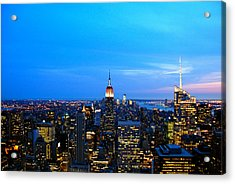 New York By Night Acrylic Print by Eric Dewar
