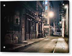 New York City Alley At Night Acrylic Print by Vivienne Gucwa