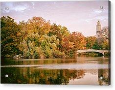 New York City - Autumn - Central Park - Lake And Bow Bridge Acrylic Print by Vivienne Gucwa