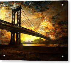 New York City Bridge Acrylic Print by Bruce Rolff