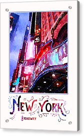 New York City Broadway Night Lights Digital Watercolor Acrylic Print