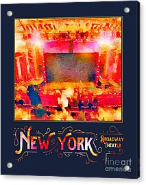 New York City Broadway Theater Digital Watercolor Acrylic Print