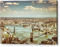 New York City - Brooklyn Bridge And Manhattan Bridge From Above Acrylic Print by Vivienne Gucwa