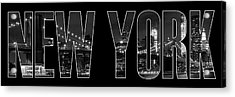 New York City Brooklyn Bridge Bw Acrylic Print