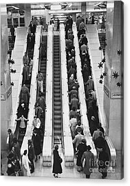 New York City Bus Terminal, 1953 Acrylic Print by Bedrich Grunzweig