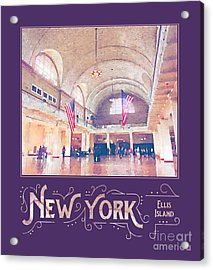 New York City Ellis Island Digital Watercolor Acrylic Print
