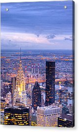 New York City Evening Acrylic Print by Mark E Tisdale