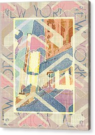 New York City In Pastel Tones - Times Square Acrylic Print
