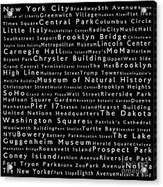 New York City In Words Black Acrylic Print