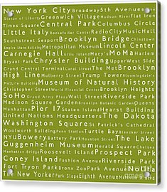 New York City In Words Olive Acrylic Print