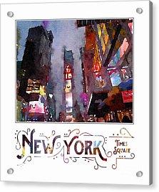 New York City Late Night Times Square Digital Watercolor Acrylic Print