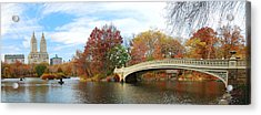New York City Manhattan Central Park Panorama At Autumn Acrylic Print