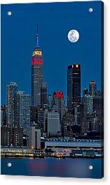 New York City Moonrise  Acrylic Print by Susan Candelario