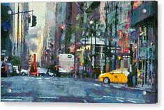 New York City Morning In The Street Acrylic Print by Dan Sproul