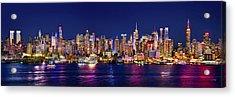 New York City Nyc Midtown Manhattan At Night Acrylic Print by Jon Holiday