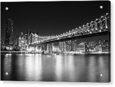New York City - Queensboro Bridge At Night Acrylic Print by Vivienne Gucwa