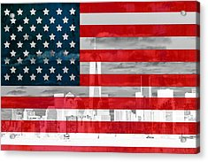 New York City Skyline And American Flag Acrylic Print by Dan Sproul