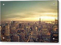 New York City - Skyline At Sunset Acrylic Print by Vivienne Gucwa