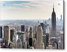 New York City Skyline Acrylic Print by Denise Panyik-dale