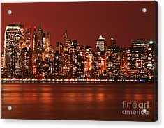 New York City Skyline In Red Acrylic Print