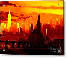 New York City Skyline Inferno Acrylic Print by Ed Weidman