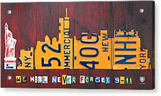 New York City Skyline License Plate Art 911 Twin Towers Statue Of Liberty Acrylic Print by Design Turnpike