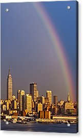 New York City Skyline Rainbow Acrylic Print by Susan Candelario