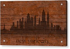 New York City Skyline Silhouette Distressed On Worn Peeling Wood Acrylic Print by Design Turnpike