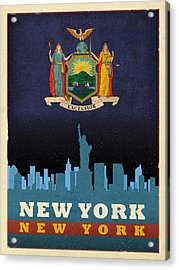 New York City Skyline State Flag Of New York Nyc Manhattan Art Poster Series 005 Acrylic Print by Design Turnpike