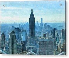 New York City Skyline Summer Day Acrylic Print by Dan Sproul