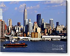 New York City Skyline With Empire State And Red Boat Acrylic Print by Kathy Flood