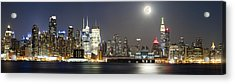 New York City Skyline With Full Moon Acrylic Print by Zev Steinhardt