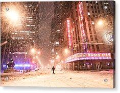 New York City - Snow And Empty Streets - Radio City Music Hall Acrylic Print by Vivienne Gucwa