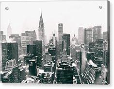 New York City - Snow-covered Skyline Acrylic Print