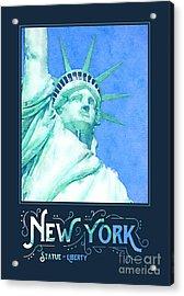 New York City Statue Of Liberty Digital Watercolor 1 Acrylic Print