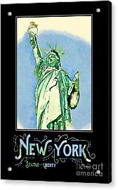 New York City Statue Of Liberty Digital Watercolor 2 Acrylic Print