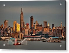 New York City Sundown On The 4th Acrylic Print by Susan Candelario