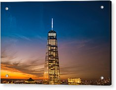 New York City - Sunset And One World Trade Center Acrylic Print