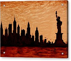 New York City Sunset Silhouette Acrylic Print by Georgeta  Blanaru
