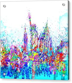 New York City Tribute 3 Acrylic Print by Bekim Art