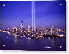 Acrylic Print featuring the photograph New York City Tribute In Lights World Trade Center Wtc Manhattan Nyc by Jon Holiday