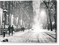 New York City - Winter Night In The Snow At Washington Square  Acrylic Print by Vivienne Gucwa