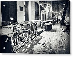 New York City - Winter Night In The Snow - East Village Acrylic Print by Vivienne Gucwa