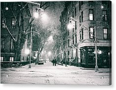 New York City - Winter Night In The West Village Acrylic Print by Vivienne Gucwa