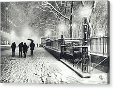 New York City - Winter - Snow At Night Acrylic Print by Vivienne Gucwa