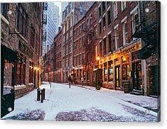 New York City - Winter - Snow On Stone Street Acrylic Print