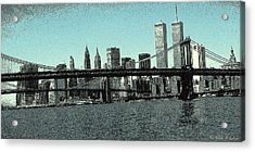 New York Downtown Manhattan Skyline - Blue Panorama Acrylic Print
