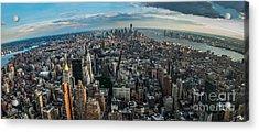 New York From A Birds Eyes - Fisheye Acrylic Print by Hannes Cmarits