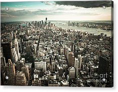New York From Above - Vintage Acrylic Print by Hannes Cmarits